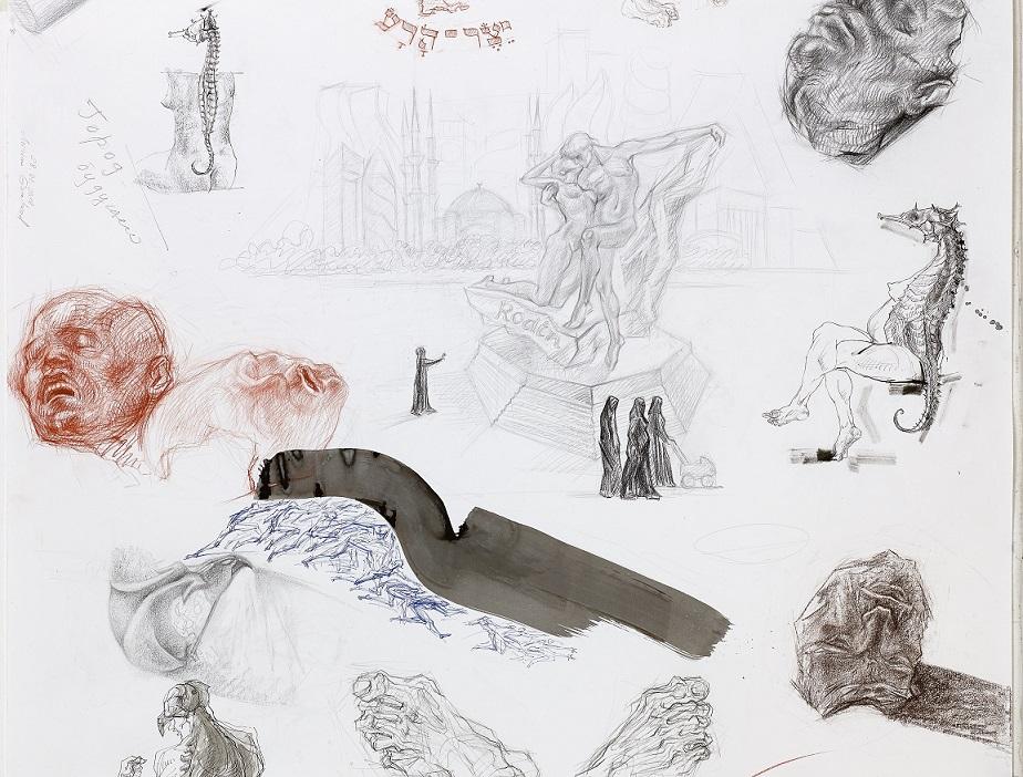 מרים גמבורד, פרט 2 מרישום הומו וולגריס בטכניקה מעורבת, גליל נייר 10 מטר X 150 סמ. 2018. קרדיט צילום לאבי אמסאלם.