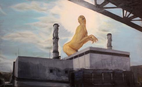 גיא גרינברג, self portrait as Godzilla,101X130 ,Oil on plywood ס